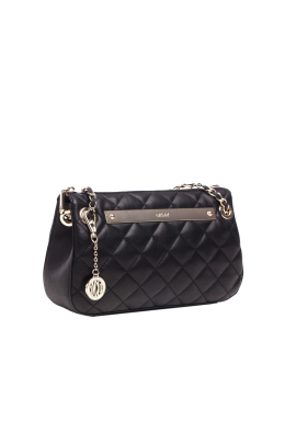 Black Quilted Leather Bag-3