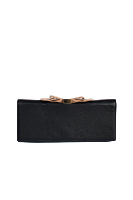 Bow-embellished Leather Clutch-0