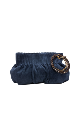 Blue Suede Ring Hand Bag-0