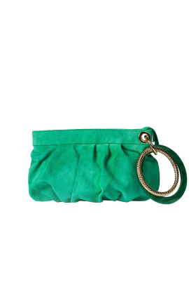 Green Suede Ring Hand Bag-0