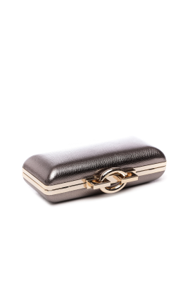 Metallic Stingray Effect Leather Clutch-2