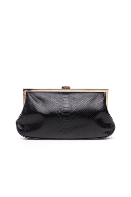 Black Snakeskin Clutch-0