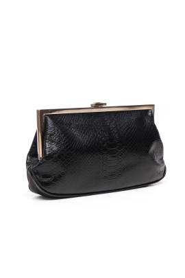 Black Snakeskin Clutch-2