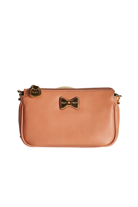 Bow Detailed Nude Leather Purse-0