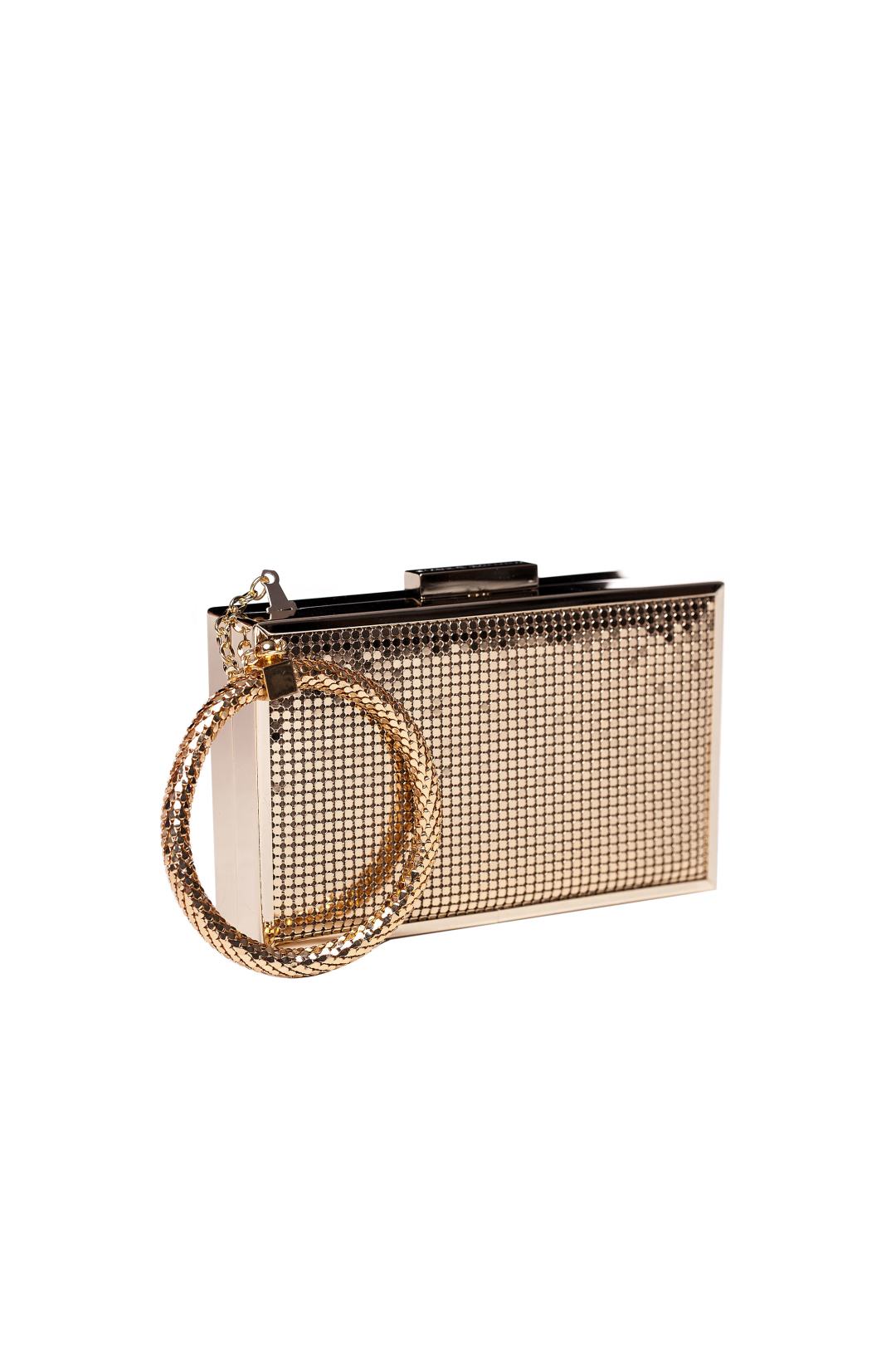 Gold Minaudiere With Bracelet