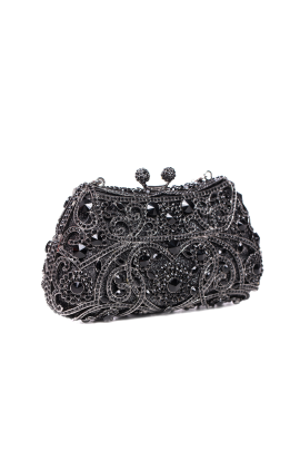 Black Crystal Glamour Clutch-0
