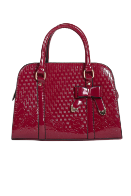 Red Polished Bow Bag-0