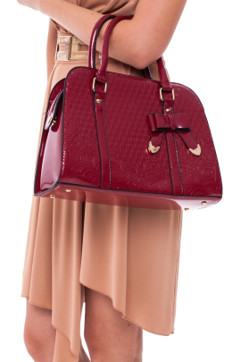 Red Polished Bow Bag-1
