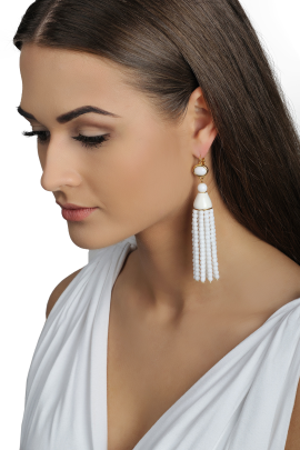 White Tassel Earrings-1