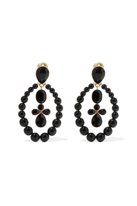 Black Crystal Clip Earrings-0
