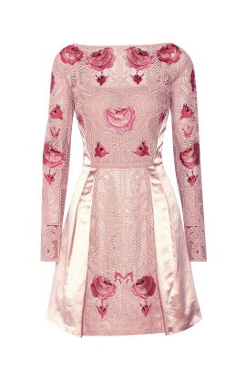 Embroidered Beige Silk Dress-0