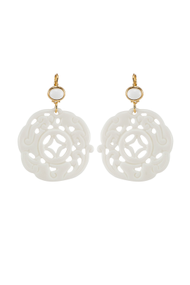 White Carved Earrings-0