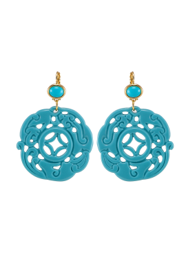 Turquoise Carved Earrings-0