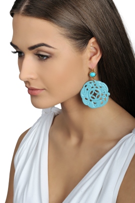 Turquoise Carved Earrings-1