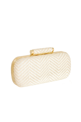 Ivory Woven Clutch-0