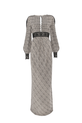 Long Helm Check Dress-3