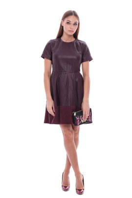 Marsala Leather Dress /VILNIUS-1