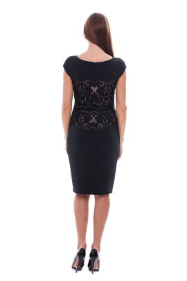 Black Elegant Neoprene Dress-2