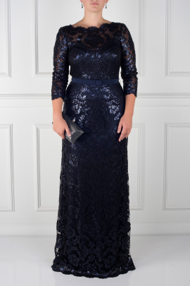 Navy Sleeved Sequin Gown -0