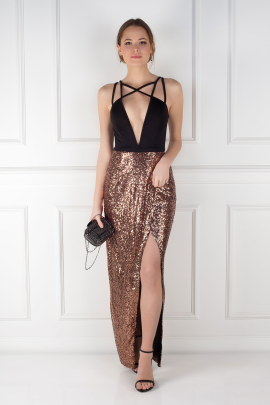 Cross Strap Sequin Dress-0