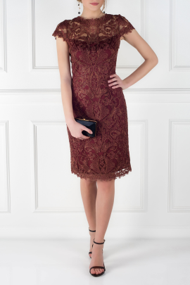 Mocha Embroidered Dress-0