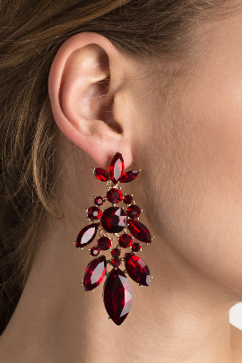 Red Leaf Evening Earrings-0