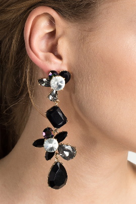 Black Statement Teardrop Earrings / VILNIUS-1