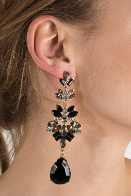 Black Statement Leaf Earrings-1