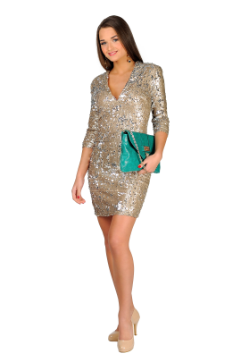 Nude Sequin Bodycon-0