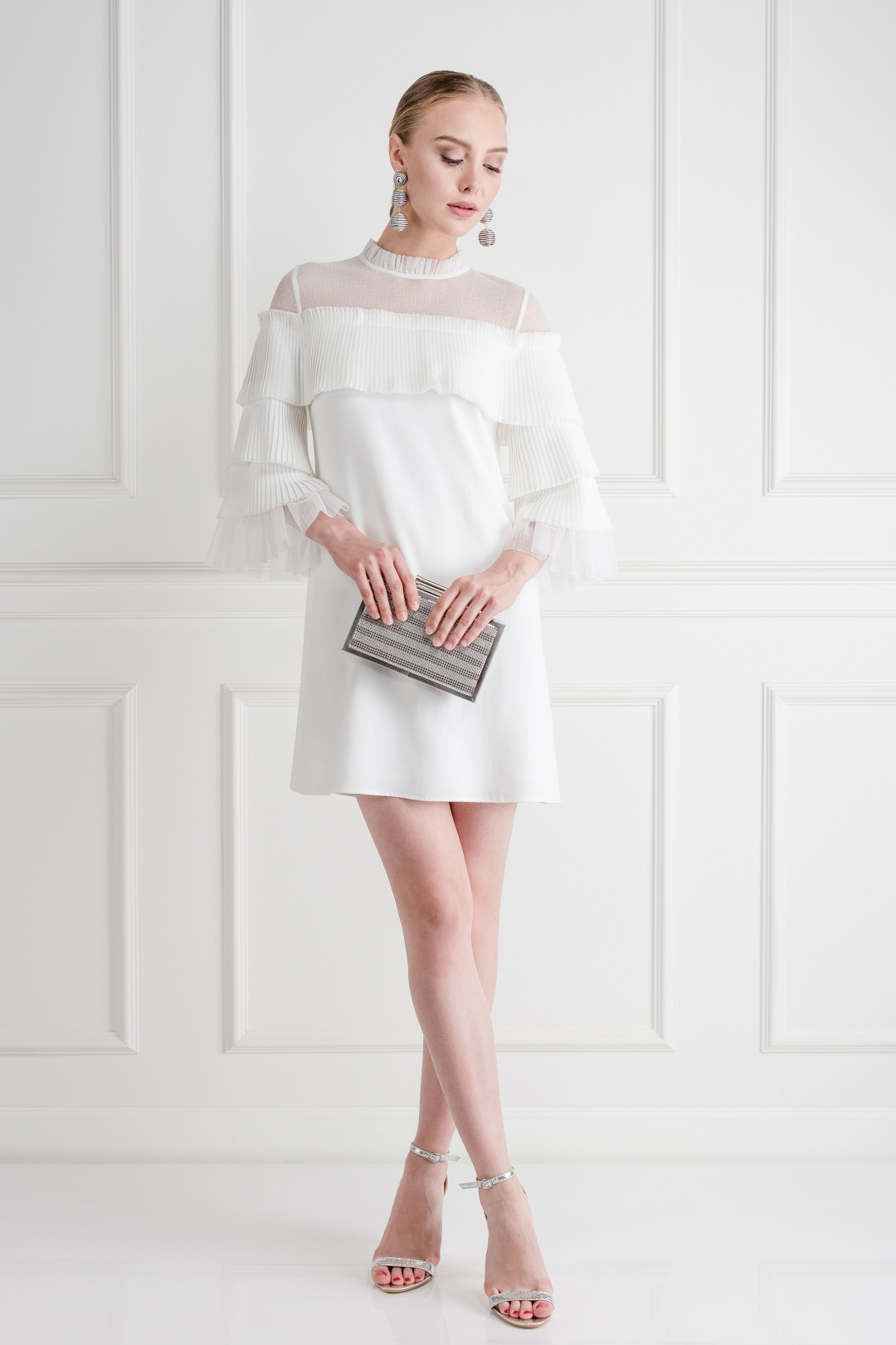 White Pierre Tulle Pleated Dress