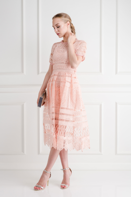 Alanna Peach Lace Dress -2