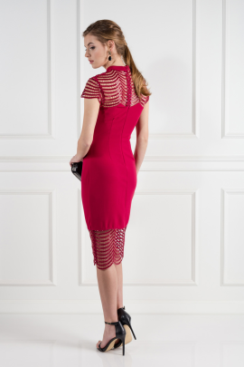 Red Lace Shift Dress-2