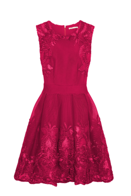 Fuchsia Mesh Dress-0