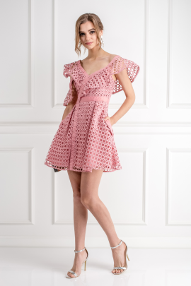 Pink Frill Mini Dress-2