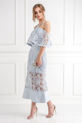 Soft Blue Cutwork Lace Dress-1
