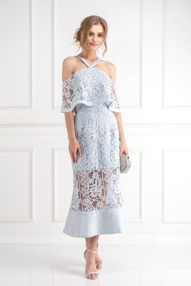 Soft Blue Cutwork Lace Dress-0