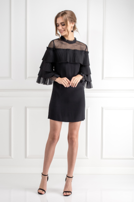 Black Pierre Tulle Pleated Dress-1