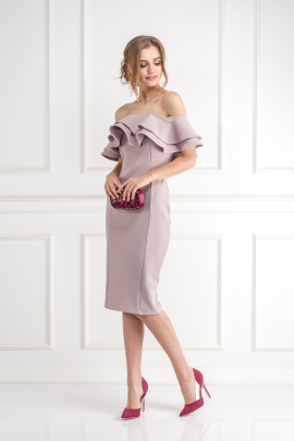 Textured Double Ruffle Dress-1