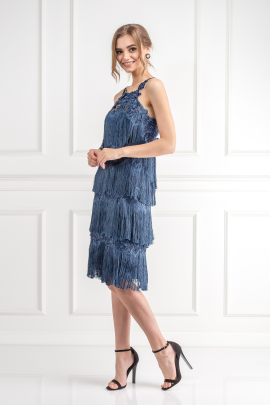 Fringed Embroidered Navy Dress-2