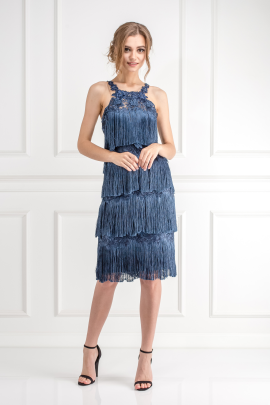 Fringed Embroidered Navy Dress-1