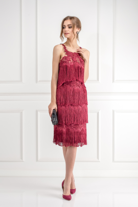 Fringed Embroidered Burgundy Dress-1