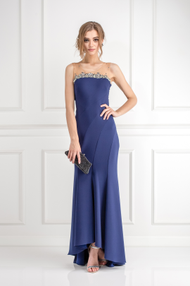 Navy Bead Embelished Gown-1