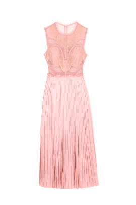 Pink Plated Skirt Dress-0