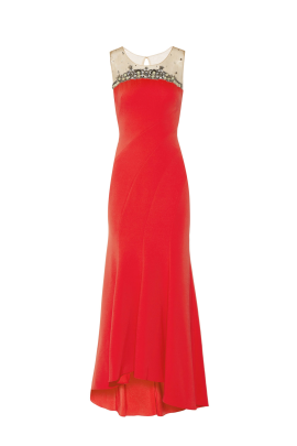 Crimson Bead Embelished Gown-0