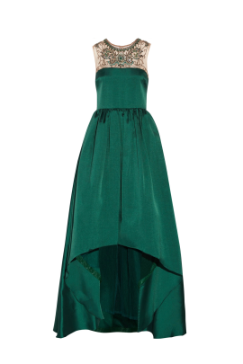 Emerald Satin-twill Gown-0