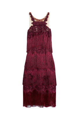 Fringed Embroidered Burgundy Dress-0