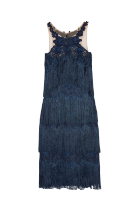 Fringed Embroidered Navy Dress-0