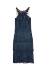 Fringed Embroidered Navy Dress