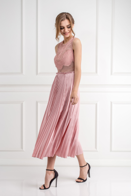 Pink Plated Skirt Dress-2