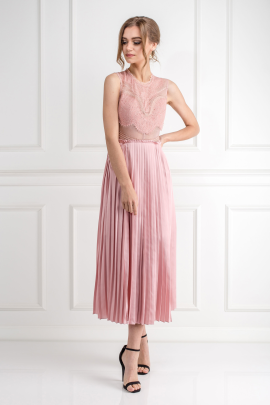 Pink Plated Skirt Dress-3